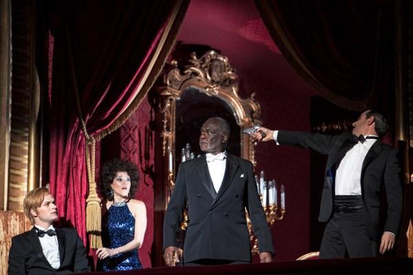 © Bernd Uhlig Andreas Wolf (Leporello), Barbara Hannigan (Donna Anna), Sir Willard White (Il Commendatore), Jean-Sébastien Bou (Don Giovanni)