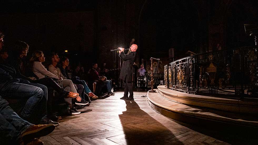 """Yom à la clarinette accompagné de Baptiste-Florian Marle-Ouvrard à l'orgue dans """"Prière"""" © Alexandre Ollier"""